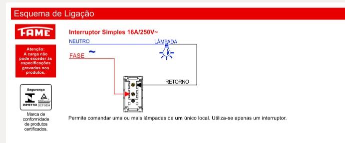 Interruptor Simples Horizontal 16A/250V