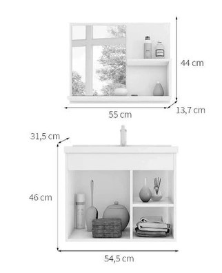 Kit Lotus Gabinete e Espelho 55cm - Carvalho/Off White