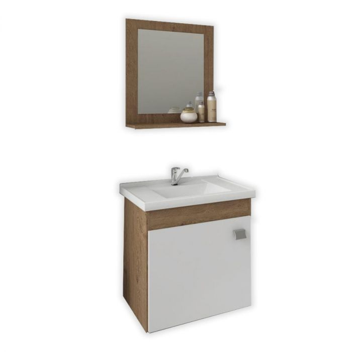 Kit Iris com Gabinete + Espelho 44cm - Carvalho/Branco