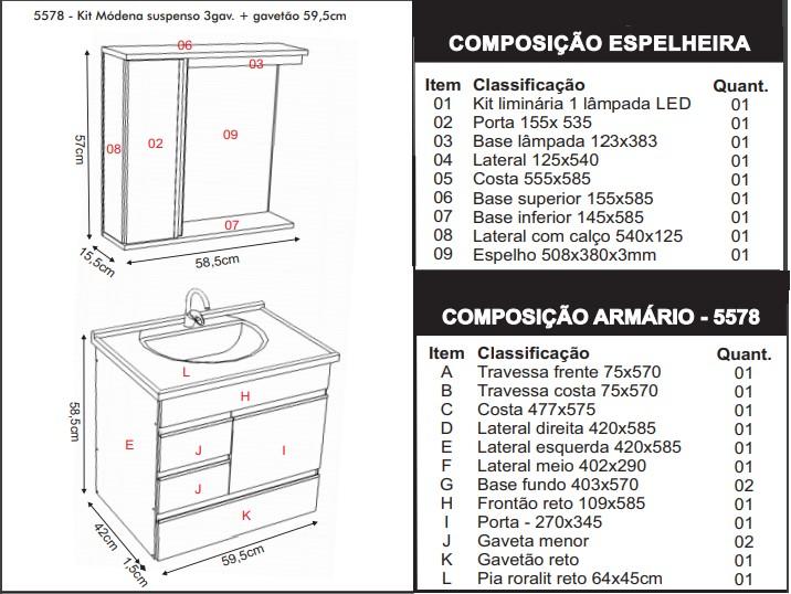 Conjunto Módena Gabinete Suspenso e Espelheira 60cm  - Castaine