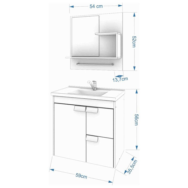 Kit Tulipa Gabinete e Espelho 60Cm - Carvalho/Off White