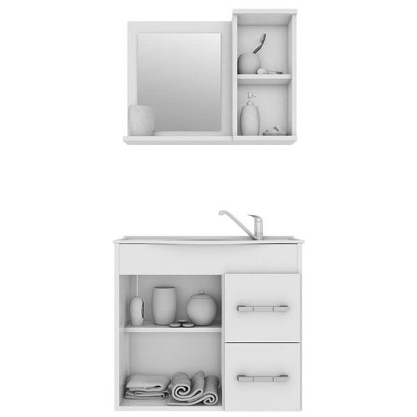 Kit Vix Gabinete e Espelho 64Cm - Branco