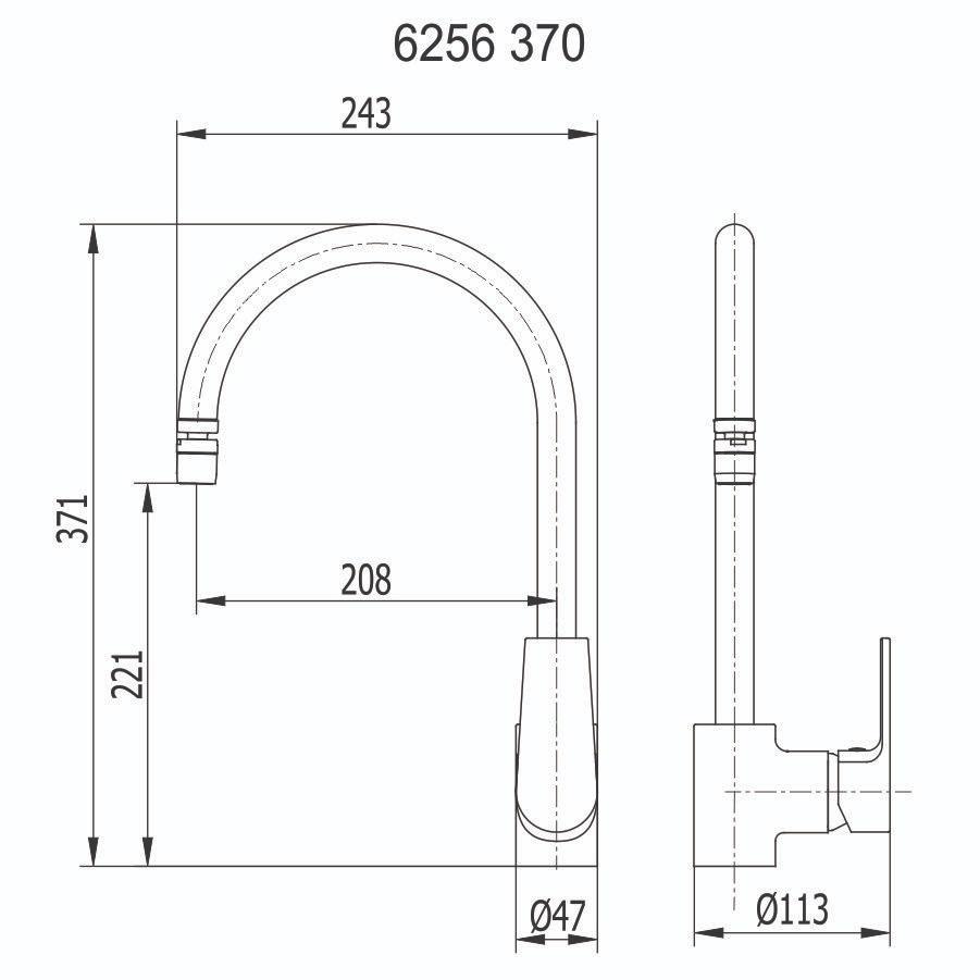 Misturador Monocomando para Cozinha 6256 C370
