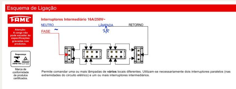 Módulo Interruptor Intermediário 16A/250V