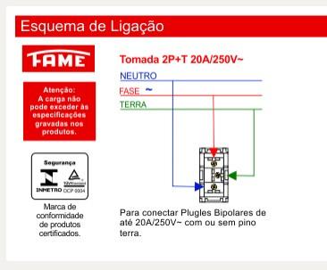 Módulo Tomada 2P+T 20A/250V