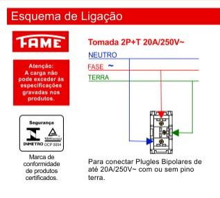 Módulo Tomada 2P+T 20A/250V - Vermelha