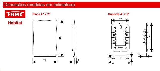 """Placa Com Suporte 4"""" X 2"""" com Módulo Horizontal"""