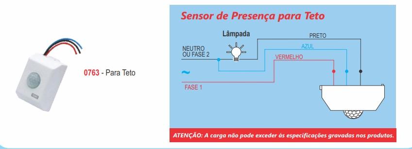 Sensor de Presença Teto Bivolt Sobrepor