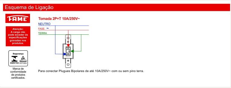 Tomada 2P+T 10A/250V com Placa