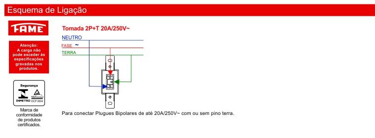 Tomada 2P+T 20A/250V com Placa