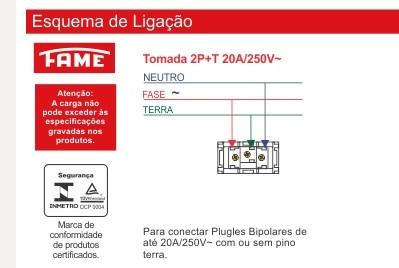 Tomada 2P+T 20A/250V