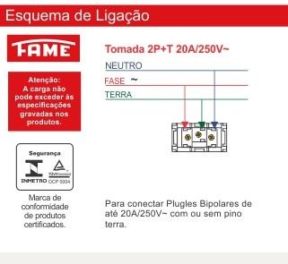 Tomada 2P+T 20A/250V Vermelha