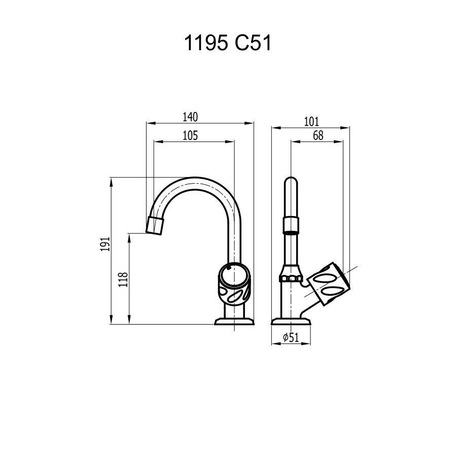 Torneira de Mesa para Lavatório Rubi 51 - Cromado