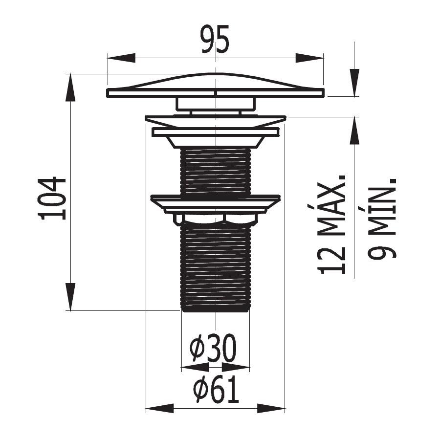 Válvula Rosqueável Quadrada para Lavatório 1607