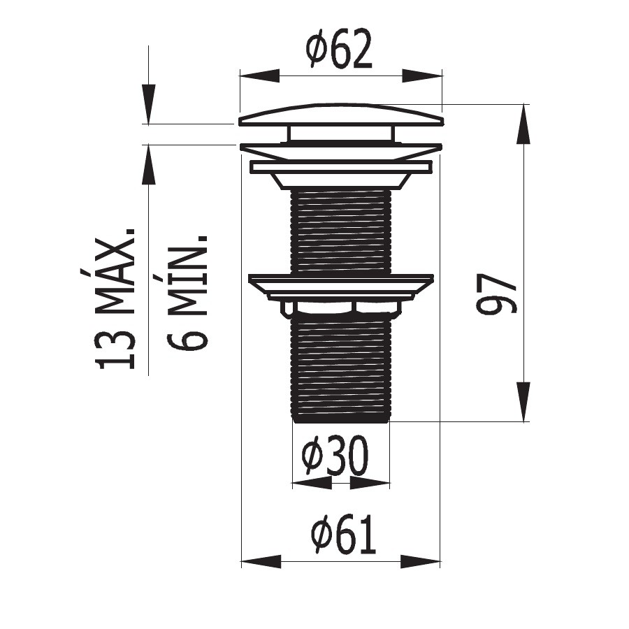 Válvula Rosqueável Redonda para Lavatório 1606
