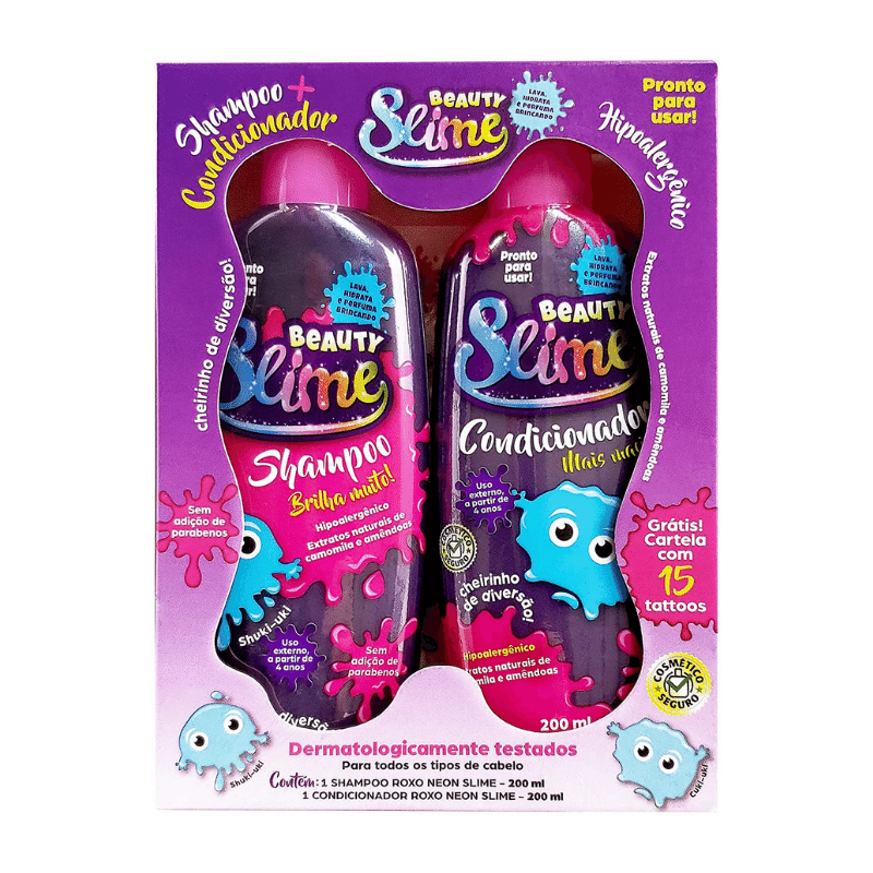 Kit Shampoo Condicionador Beauty Slime Roxo Neon 200ml