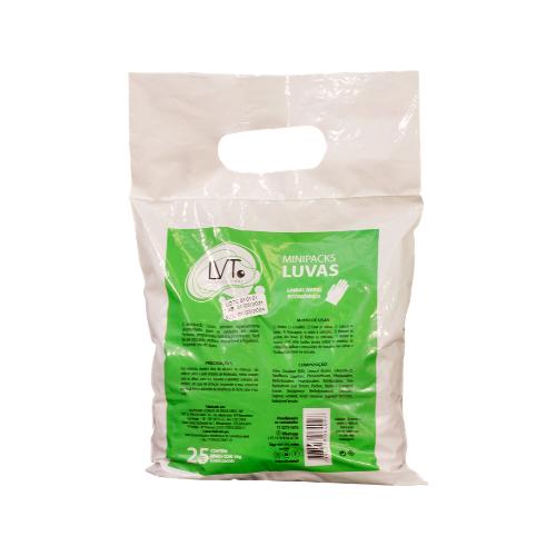 Minipacks Luvas   Contém 25 pares C/18g cada Sachê LVT PROFISSIONAL