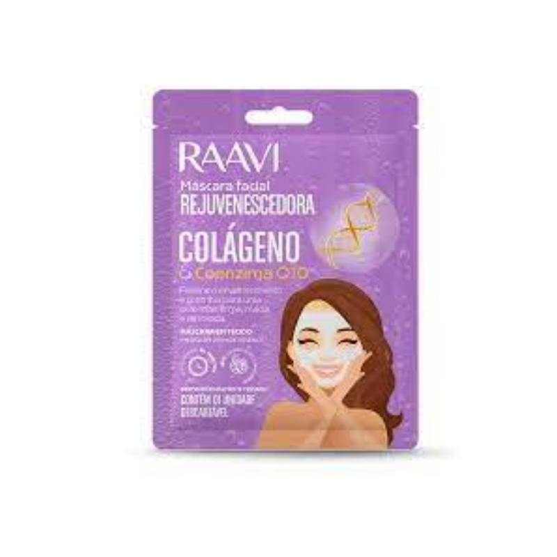Máscara de Tecido Raavi Facial Rejuvenescedora Colágeno e Q10