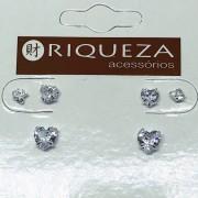 Brinco Prata 925  Trio Coração em Zircônia