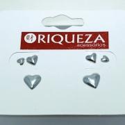 Brinco Prata 925 Trio de Corações