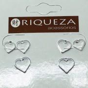 Brinco Prata 925  Trio de Corações Liso Vazado