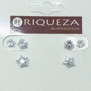 Brinco Prata 925  Trio Estrela em Zircônia