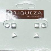 Brinco Prata 925 Trio Quadrado, Circulo e Triangulo