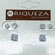 Brinco Prata 925  Trio Quadrado em Zircônia