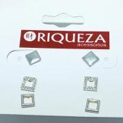 Brinco Prata 925 Trio Quadrados Zirconia