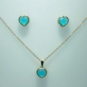 Conjunto Colar Dourado com Pingente e Brinco Coração Pedra Azul