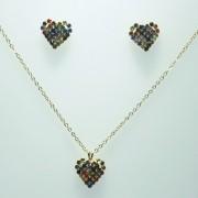 Conjunto Colar Dourado com Pingente e Brinco Coração Strass Colorido
