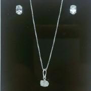Conjunto Colar Pingente e Brinco Prata 925 Zircônia Oval Branca