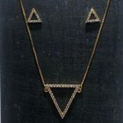 Conjunto Folheado Ouro 18k Triangulo Cravejado Zircônia