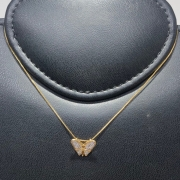 Corrente com Pingente Folheado Ouro 18k Borboleta Cravejada Zircônia