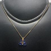 Corrente com Pingente Folheado Ouro 18k N.S.A Manto Zircônia Azul