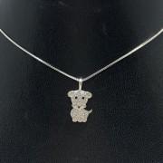 Corrente e Pingente em Prata 925 Cachorrinho Cravejado Zircônia