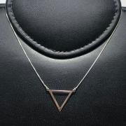 Corrente Prata 925 Com Pingente Triangulo Vazado