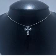 Corrente Prata 925 Cruz Coração Zircônia