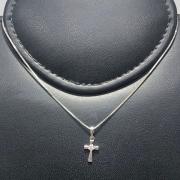 Corrente Prata 925 Cruz Pequena Zircônia Centro