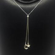 Corrente Prata 925 Estilo Gravata com Pingente de Lua e Estrela