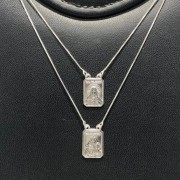 Escapulário Prata 925 Sagrado Coração e Nossa senhora Veneziana