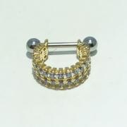 Piercing Dourado Conch 2 Fileiras Cravejado Zircônia
