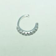 Piercing Prata 925 Conch Pressão Cravejado Zircônia