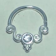 Piercing Prata 925 Septo Indiando Zircônia