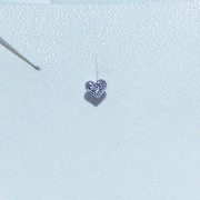Piercing Tragus Banho de Ródio e Coração 3 Zircônias