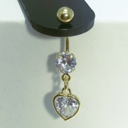 Piercing Umbigo Aço Dourado Zircônia Redonda e Coração