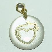 Pingente Folheado Ouro 18K Madrepérola Redondo Gato Coração