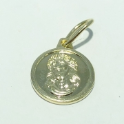 Pingente Folheado Ouro 18K Medalha Busto Jesus