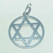 Pingente Prata 925 Medalha Estrela de Davi com Aro 22 mm