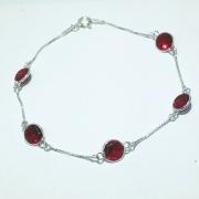 Pulseira Prata 925 com Zircônia Redonda Vermelha